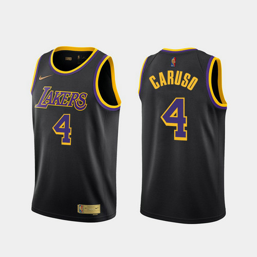 Camiseta Alex Caruso No 4 Los Angeles Lakers 2020-21 Earned Edition Hombre negro