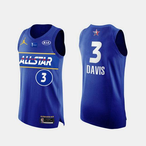 Camiseta Anthony Davis No 3 All Star 2021 Hombre azul