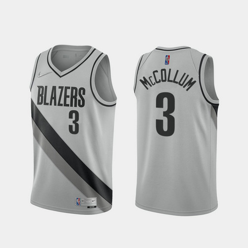 Camiseta C.J. Mccollum No 3 Portland Trail Blazers 2020-21 Earned Edition Hombre gris