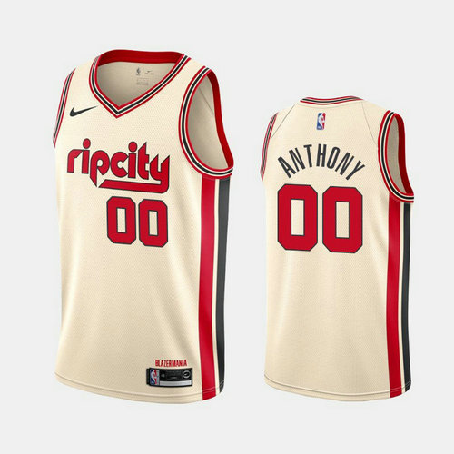 Camiseta Carmelo Anthony No 0 Portland Trail Blazers 2019-20 City Rip Cream Hombre Blanco