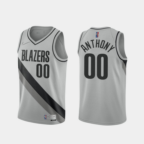 Camiseta Carmelo Anthony No 0 Portland Trail Blazers 2020-21 Earned Edition Hombre gris