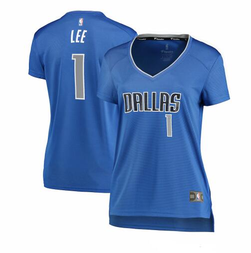 Camiseta Courtney Lee Dallas No 1 Dallas Mavericks icon edition Mujer Azul