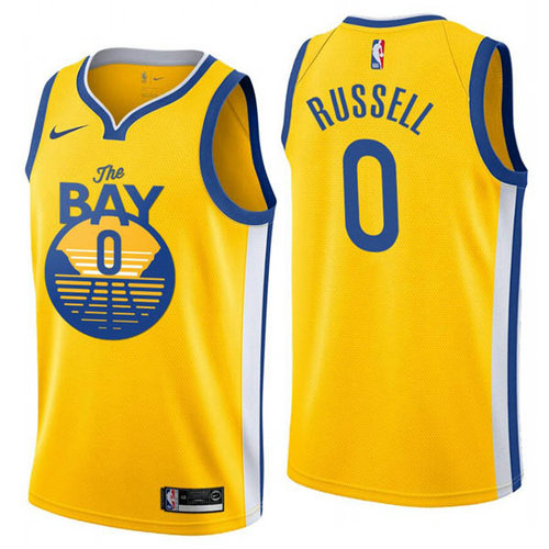 Camiseta D'Angelo Russell No 0 Golden State Warriors ciudad 2019 Hombre amarillo