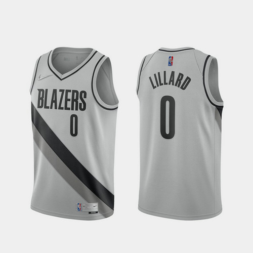 Camiseta Damian Lillard No 0 Portland Trail Blazers 2020-21 Earned Edition Hombre gris