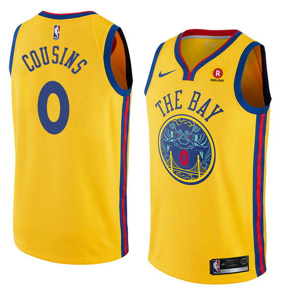 Camiseta Demarcus Cousins Golden State Warriors Ciudad 2018 Hombre Amarillo