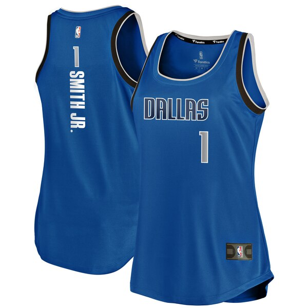 Camiseta Dennis Smith Jr No 1 Dallas Mavericks icon edition Mujer Azul
