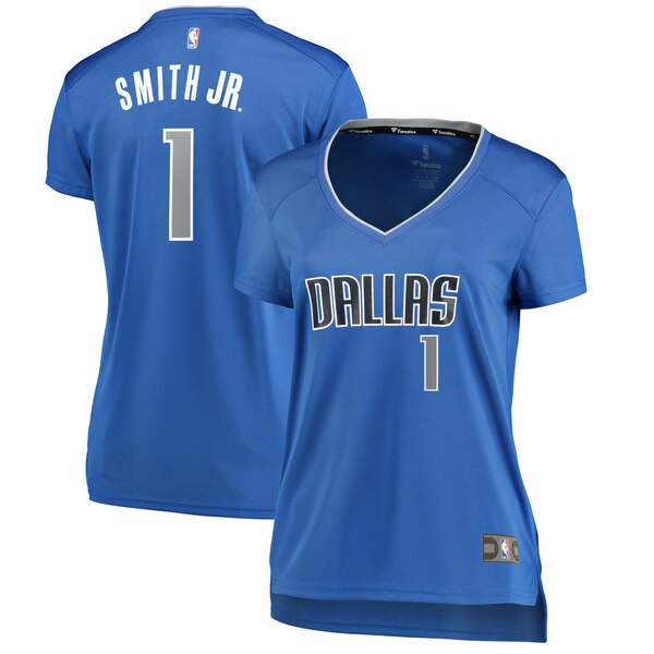 Camiseta Dennis Smith No 1 Dallas Mavericks Réplica Mujer Azul