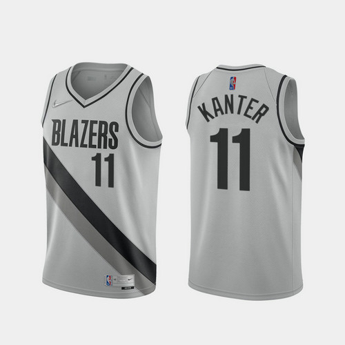 Camiseta Enes Kanter No 11 Portland Trail Blazers 2020-21 Earned Edition Hombre gris