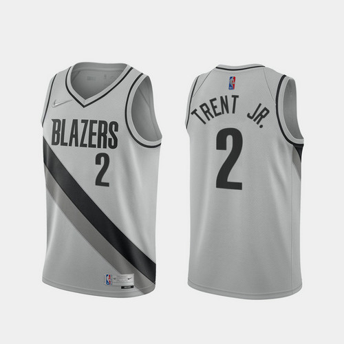 Camiseta Gary Trent Jr. No 2 Portland Trail Blazers 2020-21 Earned Edition Hombre gris