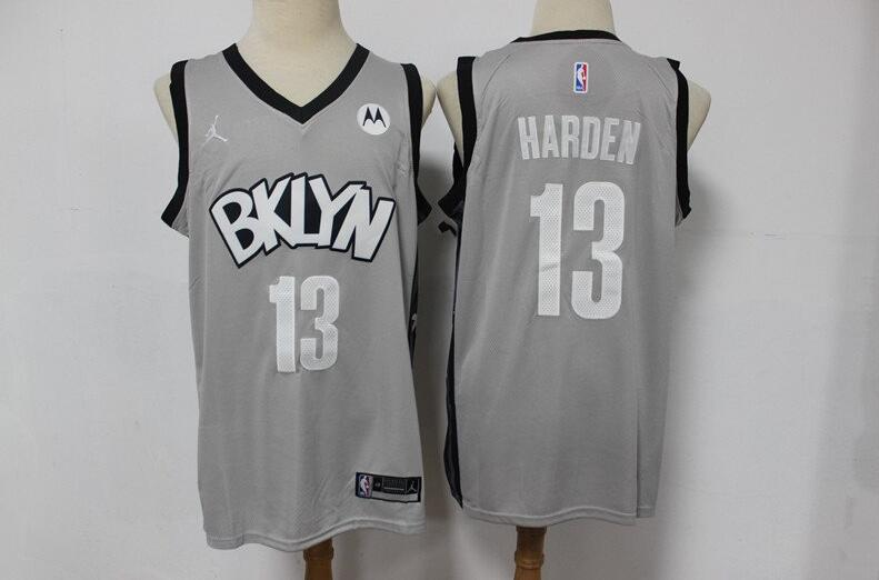 Camiseta James Harden No 13 Brooklyn Nets Player Hombre gris