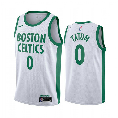 Camiseta Jayson Tatum No 0 Boston Celtics 2020-21 City Edition Hombre Blanco