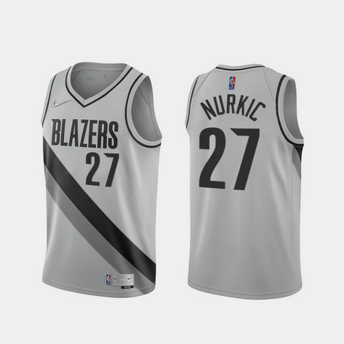 Camiseta Jusuf Nurkic No 27 Portland Trail Blazers 2020-21 Earned Edition Hombre gris