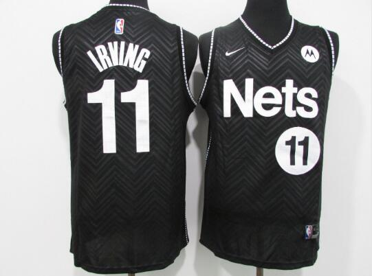 Camiseta Kyrie Irving No 11 Brooklyn Nets Earned Edition Hombre Negro