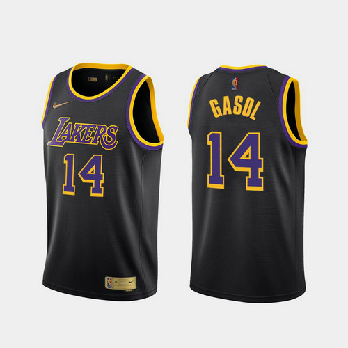 Camiseta Marc Gasol No 14 Los Angeles Lakers 2020-21 Earned Edition Hombre negro