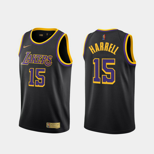 Camiseta Montrezl Harrell No 15 Los Angeles Lakers 2020-21 Earned Edition Hombre negro
