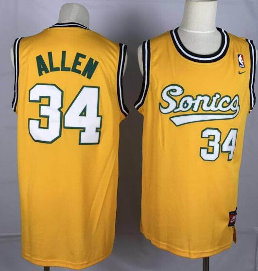 Camiseta Ray Allen No 34 Seattle Supersonics Throwback Hombre Amarillo