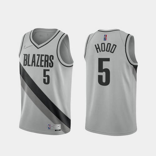 Camiseta Rodney Hood No 5 Portland Trail Blazers 2020-21 Earned Edition Hombre gris
