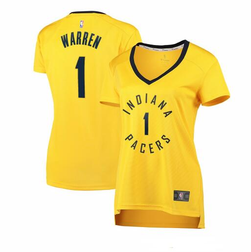 Camiseta TJ Warren No 1 Indiana Pacers statement edition Mujer Amarillo
