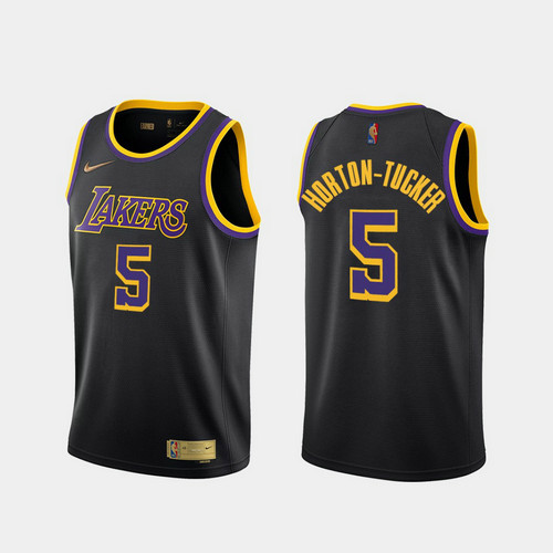 Camiseta Talen Horton Tucker No 5 Los Angeles Lakers 2020-21 Earned Edition Hombre negro