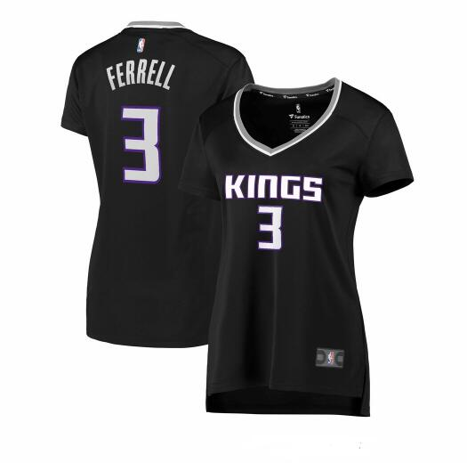 Camiseta Yogi Ferrell No 3 Sacramento Kings statement edition Mujer Negro