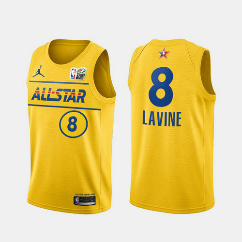 Camiseta Zach Lavine No 8 All Star 2021 Hombre oro