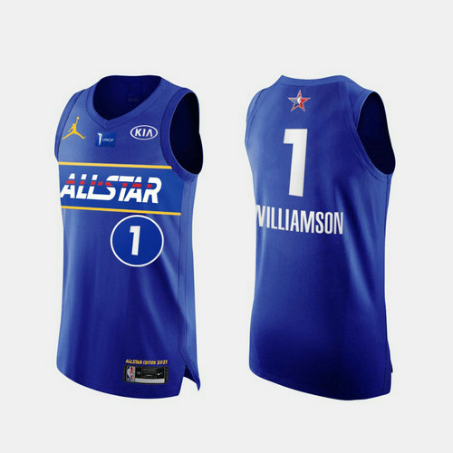 Camiseta Zion Williamson No 1 All Star 2021 Hombre azul