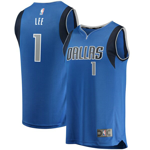 Camiseta Courtney Lee No 1 Dallas Mavericks Icon Edition Hombre Azul