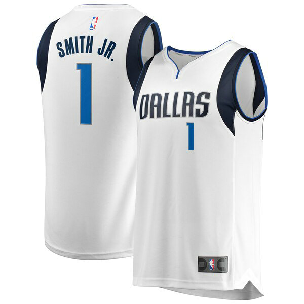 Camiseta Dennis Smith No 1 Dallas Mavericks Association Edition Hombre Blanco