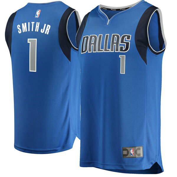 Camiseta Dennis Smith No 1 Dallas Mavericks Icon Edition Hombre Azul
