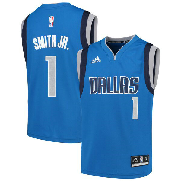 Camiseta Dennis Smith Jr No 1 Dallas Mavericks adidas Nino Azul