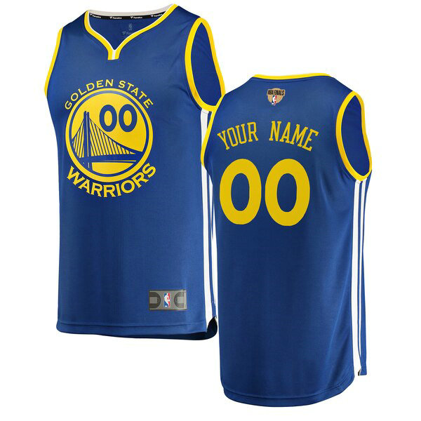 Camiseta Custom No 0 Golden State Warriors 2019 Icon Edition Hombre Azul