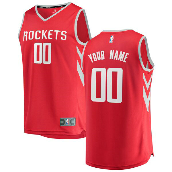 Camiseta Custom No 0 Houston Rockets Icon Edition Hombre Rojo
