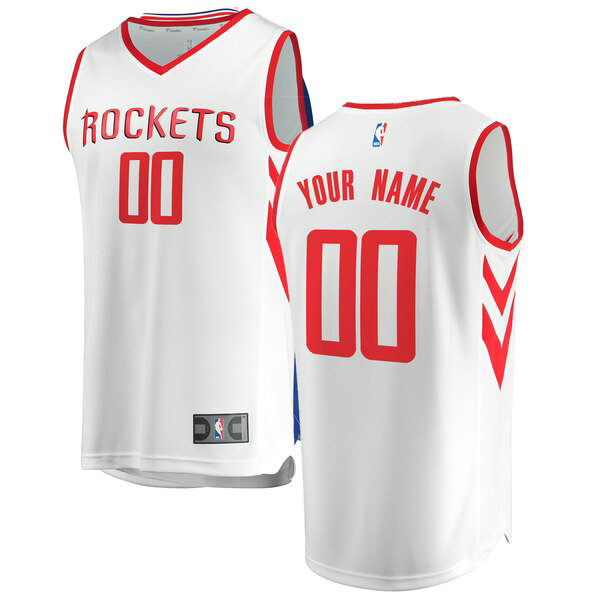 Camiseta Custom No 0 Houston Rockets Association Edition Hombre Blanco