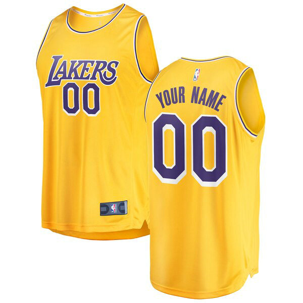 Camiseta Custom No 0 Los Angeles Lakers 2018-2019 Icon Edition Hombre Amarillo