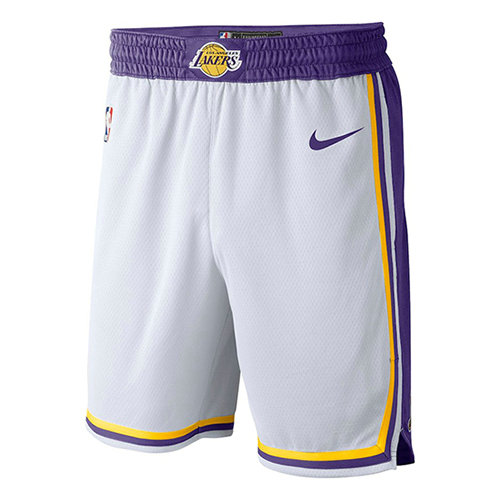 Pantalones Cortos Los Angeles Lakers Association 2018-19 Hombre Blanco