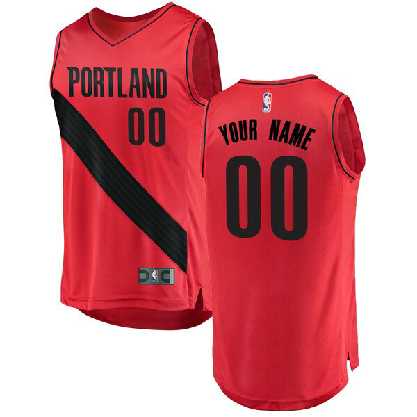 Camiseta Custom No 0 Portland Trail Blazers Statement Edition Hombre Rojo