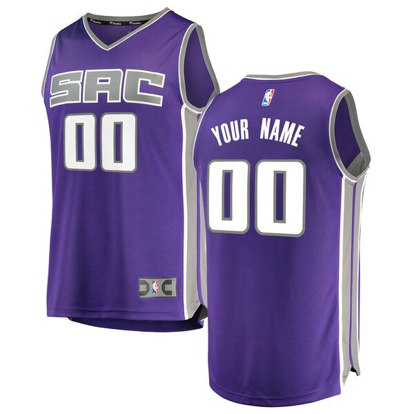 Camiseta Custom No 0 Sacramento Kings Icon Edition Hombre Púrpura