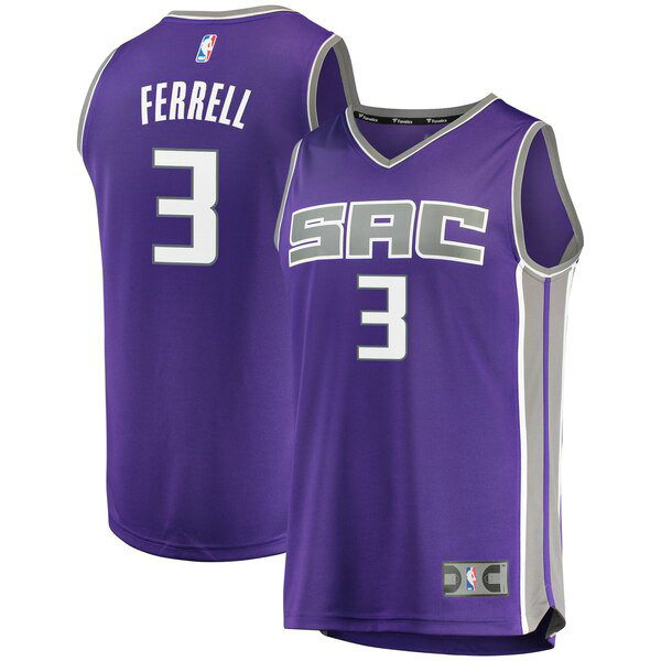 Camiseta Yogi Ferrell No 3 Sacramento Kings Icon Edition Hombre Púrpura